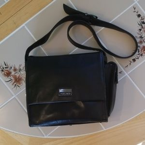 PERLINA, Black leather multi compartment shoulder